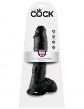 Dildo cu ventuza - King Cock  10inch Cock with Balls - 25 cm